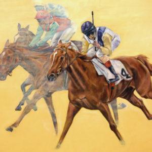Rennpferde und Jockeys